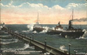 Ore Steamer Boat Leaving Duluth Superior - Lighthouses c1910 Postcard