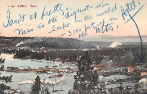 Coeur d'Alene Idaho Birds Eye View Antique Postcard J73610
