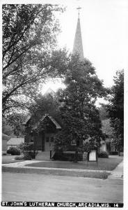 Arcadia Wisconsin~St John's Lutheran Church in Trees~c1950 Real Photo Postcard
