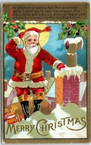 1910s Christmas Postcard SANTA CLAUS Smoking Pipe, Leaning on Chimney UNUSED