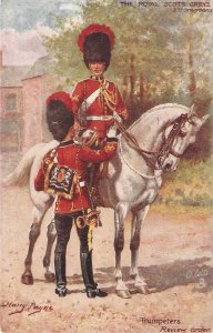 Harry Payne. The Royal Scots Greys , Trumpeters  . Horses Tuck Oilette PC #