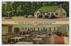 Woodland Restaurant Lincoln New Hampshire linen postcard