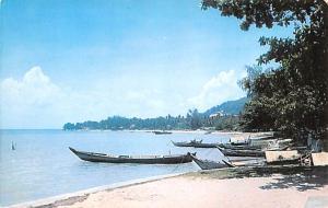 Malaysia Old Vintage Antique Post Card Tanjong Bungah Beach Penang Unused