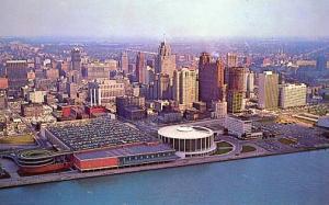 MI - Detroit, Aerial View of Skyline & Civic Center