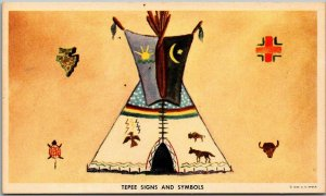 Native Americana Postcard TEPEE SIGNS & SYMBOLS Artist-Signed Felix Walking