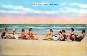 Michigan Manistique Beach Scene A Tug Of War