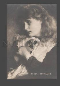 093475 Young Girl w/ Little BIRD by HICKS vintage PC