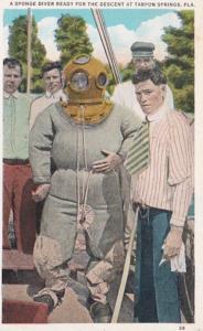 Florida Tarpon Springs A Sponge Diver Ready For The Descent 1932
