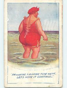 1923 risque signed WOMAN SO FAT SHE RIPS HER BATHING SUIT HL6697