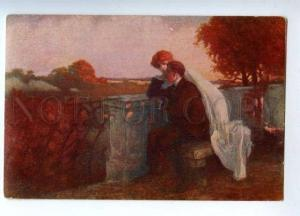 157728 EVENING Lovers by BALESTRIERI vintage Russian Color PC