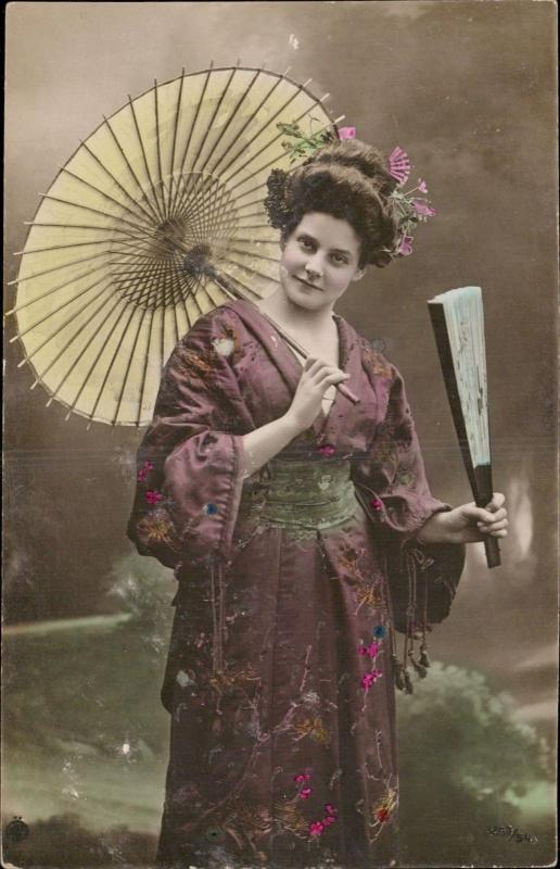native typical costumes geisha fan umbrella