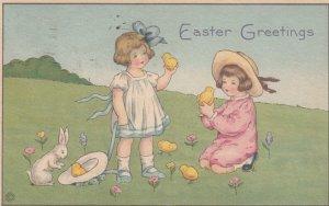 EASTER , 00-10s ; 2 kids , rabbit & chicks