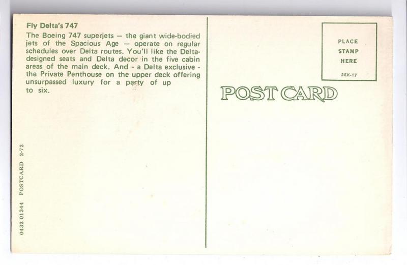 Delta Boeing 747 Vintage Chrome Postcard
