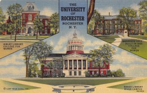 Rochester New York 1940s Postcard University Of Rochester Multiview