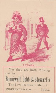 Independence IA Bonniewell, Cobb & Stewart TC~Old Man & Lady Striking Out~c1889