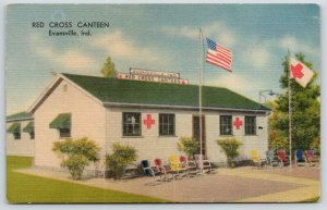 Evansville Indiana~Red Cross Canteen~American & RC Flags~1940s Linen Postcard