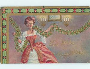 Pre-Linen Christmas PRETTY WOMAN DECORATING HOUSE WITH STRINGS OF HOLLY HL7088