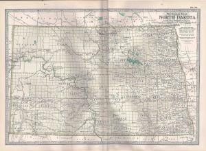 VINTAGE MAP North Dakota c1897 from Century Atlas