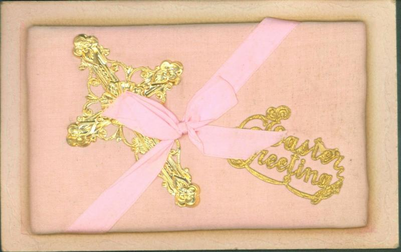 PINK SATIN BASE & RIBBON BOW~BRASS CROSS~EASTER GREETING POSTCARD c1910s