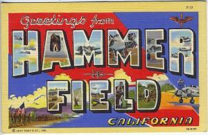 Hammer Field CA Large Letter Linen Curt Teich Military Postcard