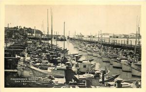 San Francisco California~Fishermen's Wharf~Fishing Boats~1940s B&W Postcard