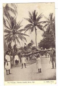 Native man with log on shoulder , The Triangle, Victoria Parade, SUVA , Fiji ...