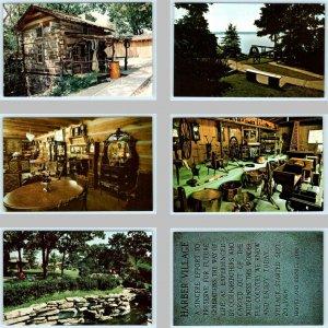 6 Postcards GROVE, Oklahoma OK ~ Scenes at HAR-BER VILLAGE Pioneer Museum c1970s