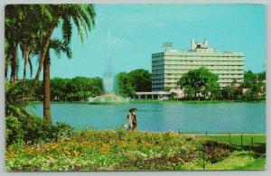 Orlando Florida~Lake Eola Centennial Fountain~Standard Chrome Postcard