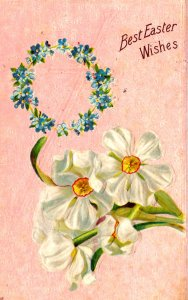 Best Easter Wishes - Flowers - Embossed - in 1911