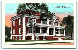 Postcard KS Coffeyville Elks Club A22