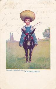 A Rough Rider Young Boy On Donkey 1900
