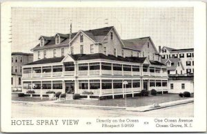 OCEAN GROVE, New Jersey Postcard HOTEL SPRAY VIEW Ocean Ave. View / 1954 Cancel