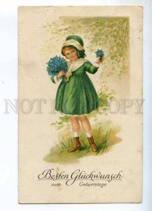 240443 FASHION Girl in Green Dress FORGET-ME-NOT Vintage PC