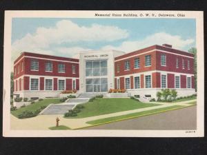 Mid-1900s Memorial Union, Ohio Wesleyan University, Delaware, OH Postcard
