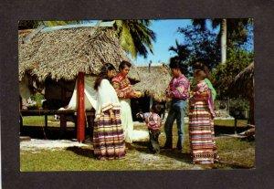 FL Seminole Indians Costumes Musa Isle Florida Postcard Miami Straw Huts