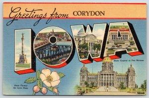 Corydon Iowa~State Large Letter Linen Postcard~Capitol~Monument~Wild Rose~1944
