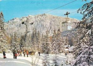 Winter Sports Skiers & Aerial Tramway At Zakopan Poland