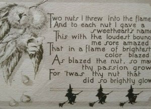 Vintage Halloween Postcard Gibson 3 Witches Flying Brooms Unused Sepia Original
