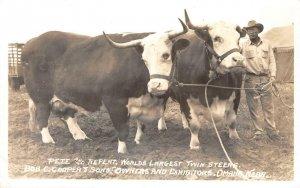RPPC Pete & Repeat, Twin Steers Bob C. Cooper, Omaha, NE Cowboy c1940s Postcard