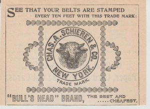 Chas A Schieren & Co Bull's Head Brand Leather 1899 Print Ad, New York