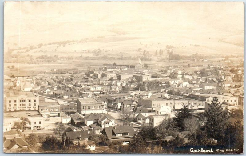 Ashland, Oregon RPPC Real Photo Postcard Bird's-Eye Panorama Town View c1910s