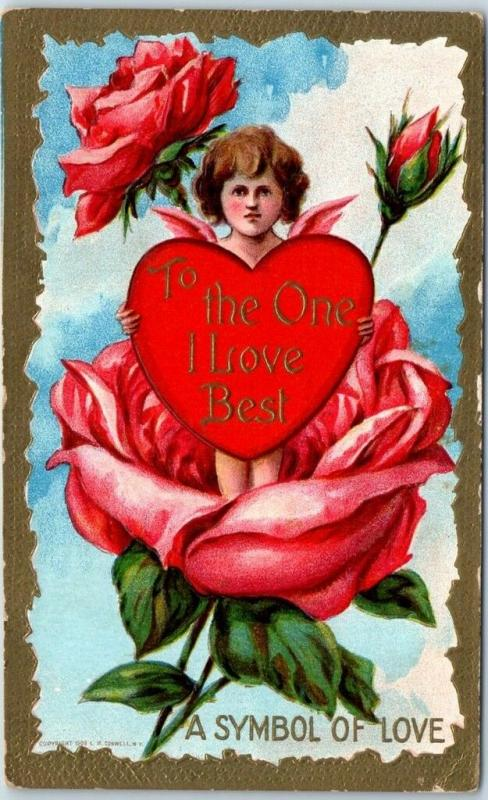 1910s VALENTINE'S DAY Postcard Cupid Angel in Pink Rose To The One I Love Best