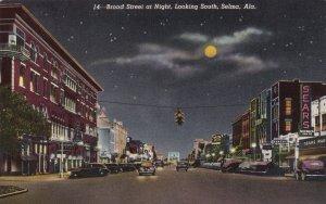 Alabama Selma Broad Street At Night Looking South Curteich sk1537