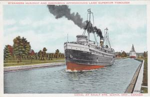 SAULT STE MARIE, Ontario, 00-10s; Steamers Huronic & Assiniboia Approaching Lake