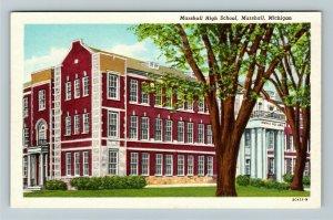 Marshall MI- Michigan, Marshall High School, Vintage Chrome Postcard
