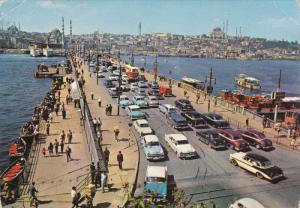 ISTANBUL, Turkey, 1950-1970´s; Galata Bridge, Classic Cars
