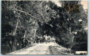 Marlin, Texas Postcard Lover Lane Road Scene w/ Horse Carriage 1909 Cancel