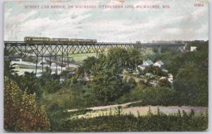 Milwaukee, Wis., Street Car Bridge on Waukesha Interurban Line - 1907