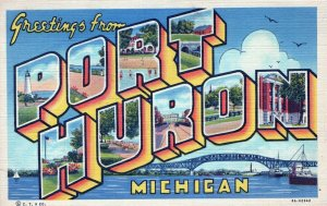 Greetings From Port Huron Michigan Posted Linen Vintage Postcard