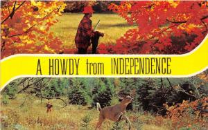 Independence Missouri(?) Howdy~Hunter & Buck in Forest~1950s Postcard